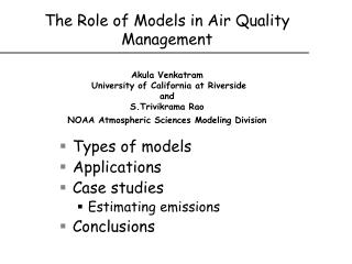 Types of models Applications Case studies Estimating emissions Conclusions