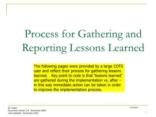 Process for Gathering and Reporting Lessons Learned