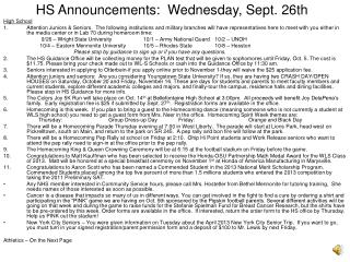 HS Announcements:  Wednesday, Sept. 26th