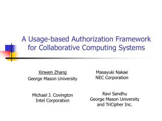 A Usage-based Authorization Framework for Collaborative Computing Systems