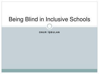 Being Blind in Inclusive Schools