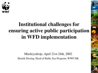Institutional challenges for ensuring active public participation in WFD implementation