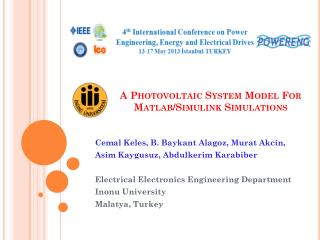 A Photovoltaic System Model For  Matlab /Simulink Simulations