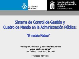 Sistema de Control de Gestión y Cuadro de Mando en la Administración Pública: