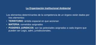 La Organización Institucional Ambiental