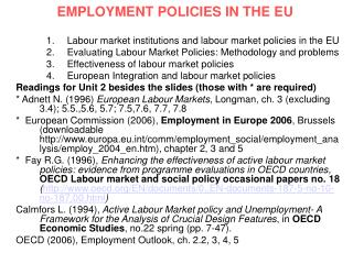 EMPLOYMENT POLICIES IN THE EU