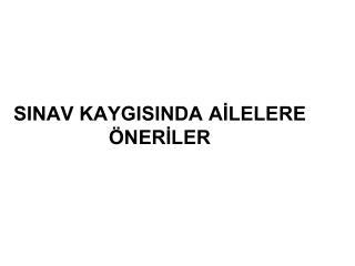 SINAV KAYGISINDA AİLELERE ÖNERİLER