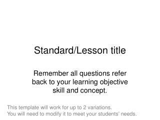Standard/Lesson title