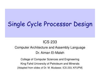 Single Cycle Processor Design