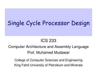 Single Cycle Processor Design