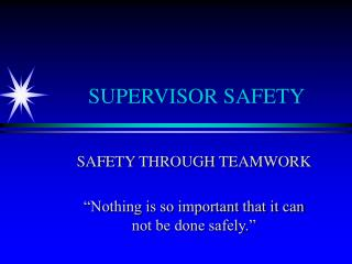 SUPERVISOR SAFETY