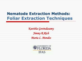 Nematode Extraction Methods: Foliar Extraction Techniques