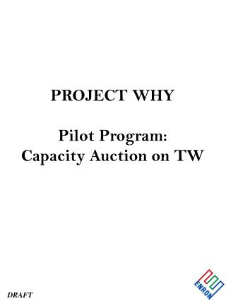 PROJECT WHY Pilot Program: Capacity Auction on TW