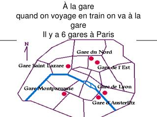 À la gare quand on voyage en train on va à la gare Il y a 6 gares à Paris