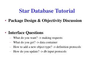 Star Database Tutorial