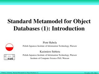 Standard Metamodel for Object Databases (1): Introduction