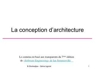 La conception d'architecture