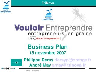 Business Plan 15 novembre 2007