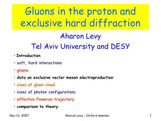 Gluons in the proton and exclusive hard diffraction