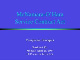 McNamara-O�Hara Service Contract Act