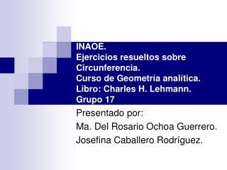 Presentado por:  Ma. Del Rosario Ochoa Guerrero. Josefina Caballero Rodríguez.