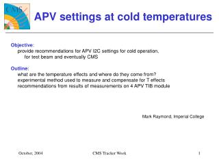 APV settings at cold temperatures