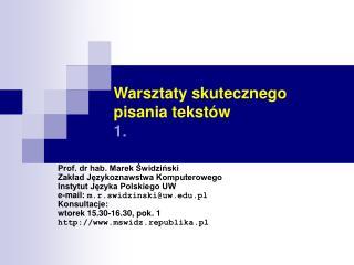 Warsztaty skutecznego pisania tekstów 1.