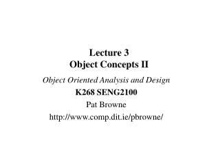 Lecture 3 Object Concepts II