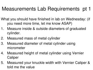 Measurements Lab Requirements  pt 1