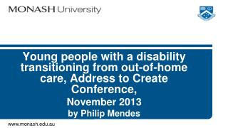 Young people with a disability transitioning from out-of-home care, Address to Create Conference,
