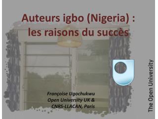Auteurs igbo(Nigeria) :  les raisons du succès