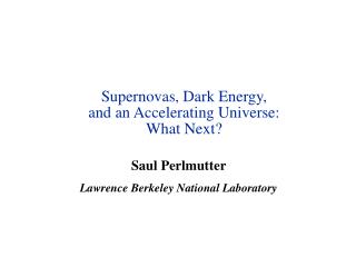 Supernovas, Dark Energy,  and an Accelerating Universe: What Next?
