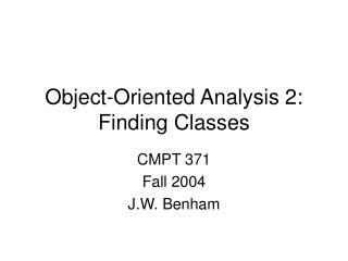 Object-Oriented Analysis 2: Finding Classes
