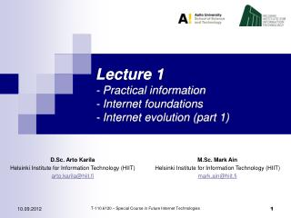 Lecture 1 - Practical information - Internet foundations - Internet evolution (part 1)