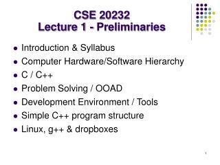 CSE 20232 Lecture 1 - Preliminaries