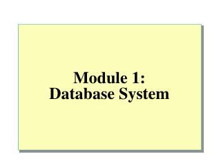 Module 1:  Database System