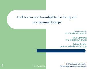 Funktionen von Lernobjekten in Bezug auf Instructional Design