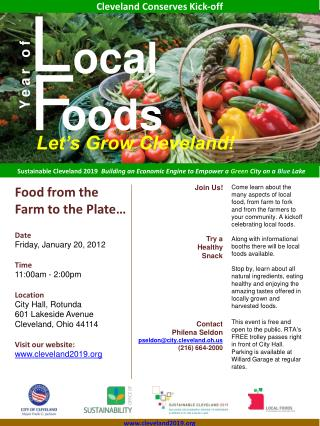 Food from the Farm to the Plate… Date Friday, January 20, 2012 Time 11:00am - 2:00pm Location