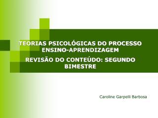 TEORIAS PSICOL�GICAS DO PROCESSO ENSINO-APRENDIZAGEM REVIS�O DO CONTE�DO: SEGUNDO BIMESTRE