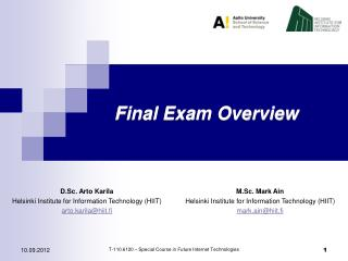 Final Exam Overview