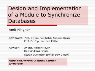 Design and Implementation of a Module to Synchronize Databases
