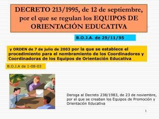 DECRETO 213/1995, de 12 de septiembre, por el que se regulan los EQUIPOS DE ORIENTACIÓN EDUCATIVA