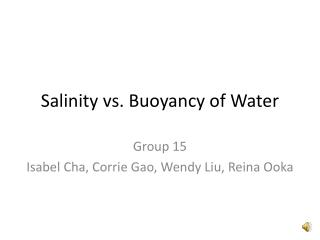 Salinity vs. Buoyancy of Water
