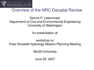 Overview of the NRC Decadal Review