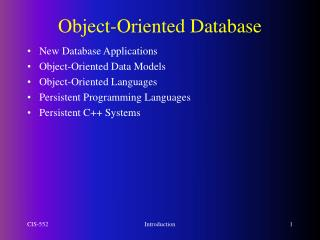 Object-Oriented Database