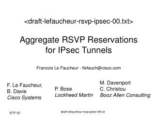 F. Le Faucheur,  B. Davie Cisco Systems