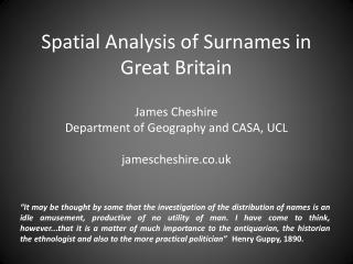 Spatial Analysis of Surnames in Great Britain
