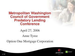 Metropolitan Washington Council of Government Predatory Lending Conference