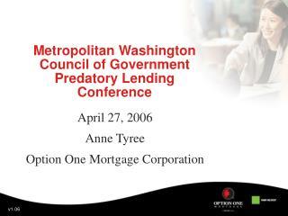 Metropolitan Washington Council of Government Predatory Lending Conference