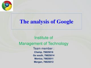 The analysis of Google